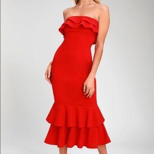 Glam red midi dress lulus